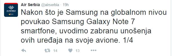 Samsung Galaxy Note 7 ukinula AirSerbia 1