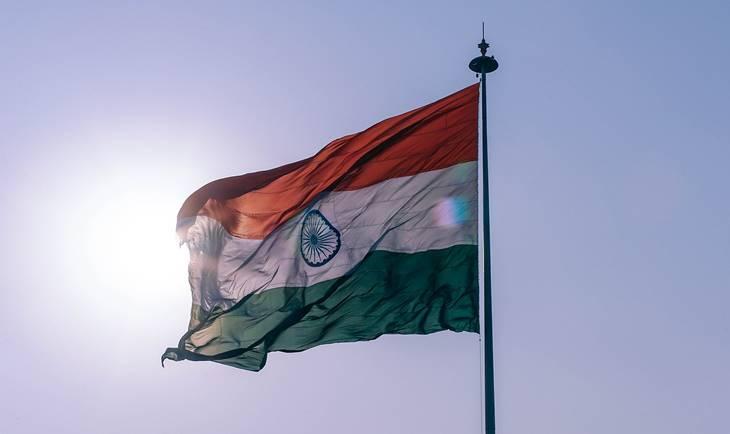 Zastava Indije na jarbolu