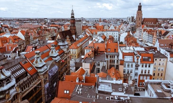 Pogled na zrade u gradu Vroclavu