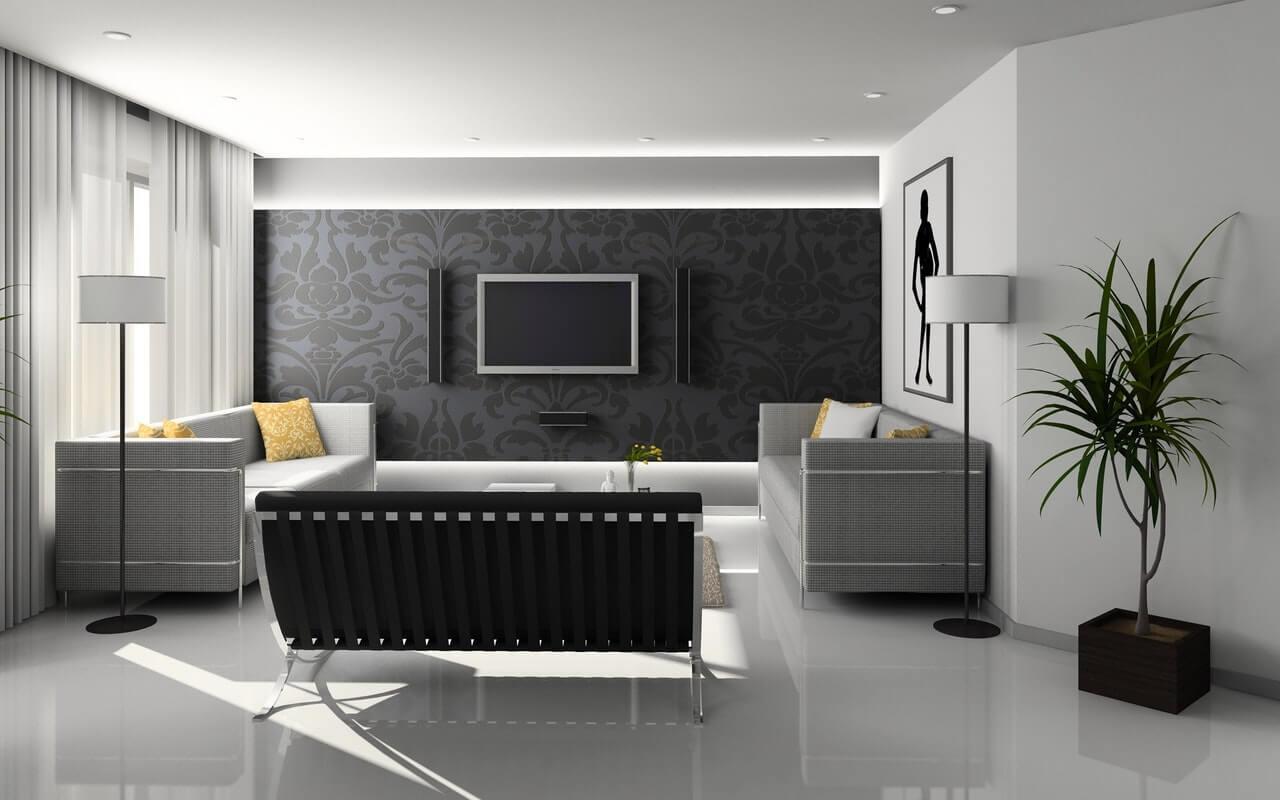 enterijer dnevne sobe u sivim nijansama